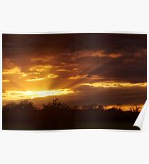Dramatic Skies at Dusk Over South London, England Poster