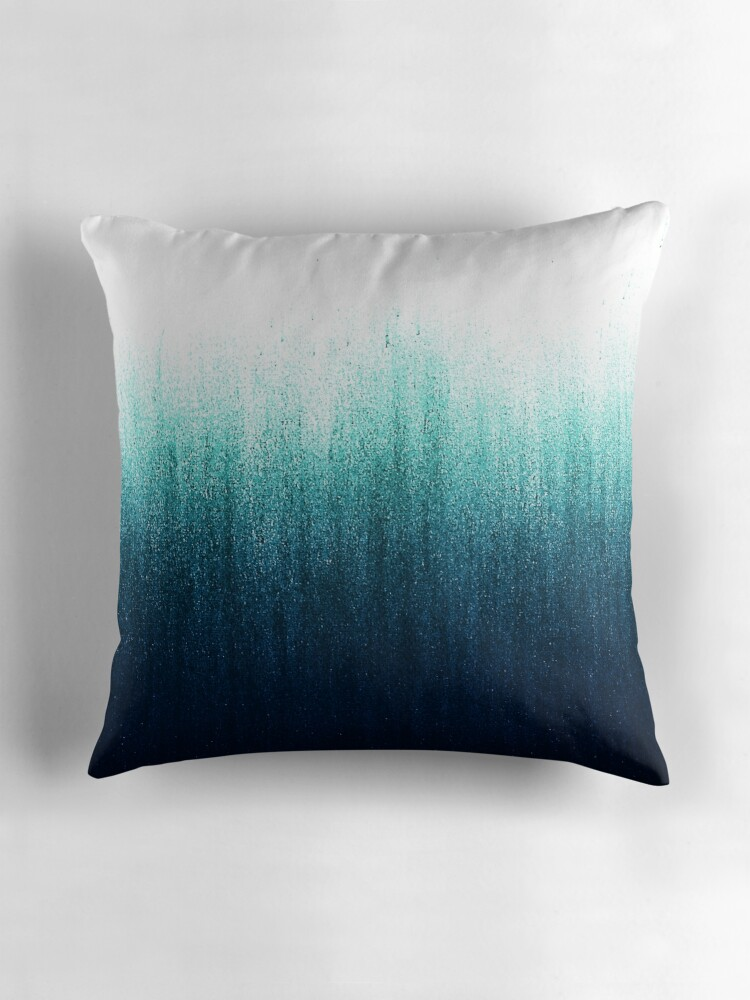Quot Teal Ombre Quot Throw Pillows By Caitlinworkman Redbubble