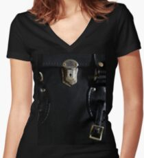 Leather and Zippers Women's Fitted V-Neck T-Shirt