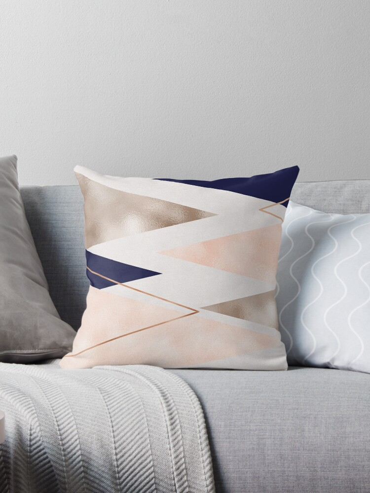 Rose gold french navy geometric by peggieprints