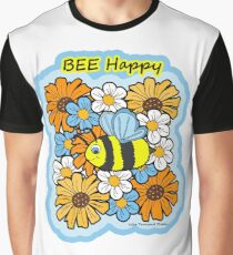 Bee Happy-Bee in the Flowers Graphic T-Shirt