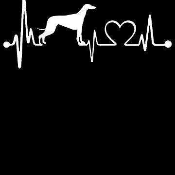 Love Greyhound Dog - Funny Dog Shirt Heartbeat by Meli145