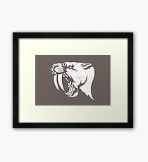 saber tooth cat stencil Framed Print