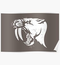 saber tooth cat stencil Poster