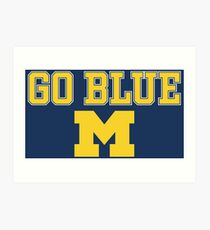 Go Blue Michigan Block M Art Print