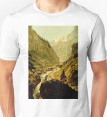Vintage Retro Scenery Landschape Gold Rush Panorama Drawing T-Shirt