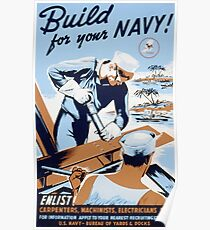 Vintage Retro WW2 Navy Build History Steel Worker  Poster