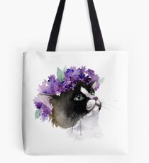 Cat in a Wreath of Lilac Tote Bag
