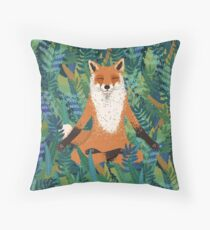 Fox Yoga Throw Pillow