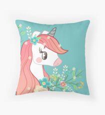 Pink-Maned Unicorn Throw Pillow