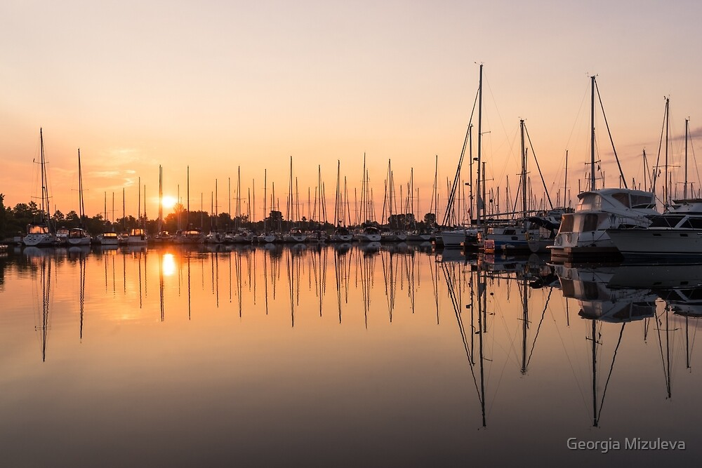 Symmetrical Peace - Catching the Sunrise at the Yacht Club by Georgia Mizuleva