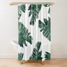 Banana Leaf #Watercolor Pattern #redbubble Shower Curtain
