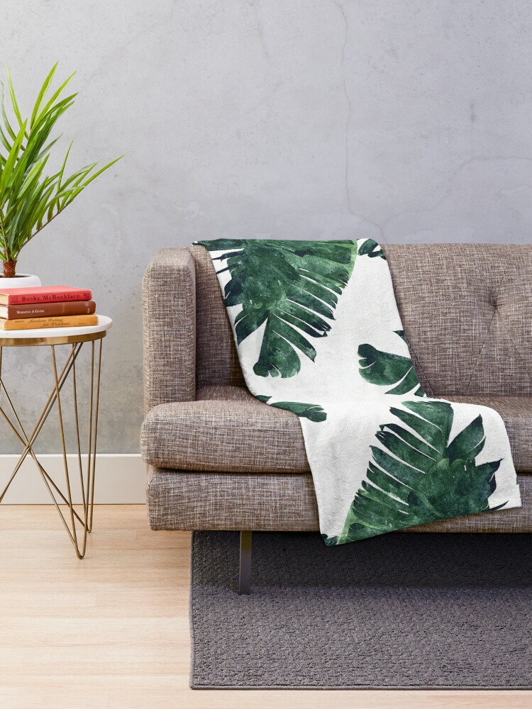 Alternative Ansicht von Bananen-Blatt #Watercolor Pattern # redbubble Fleecedecke