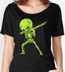 Dabbing Skeleton Halloween Neon Zombie Dab Dance T Shirt Women's Relaxed Fit T-Shirt