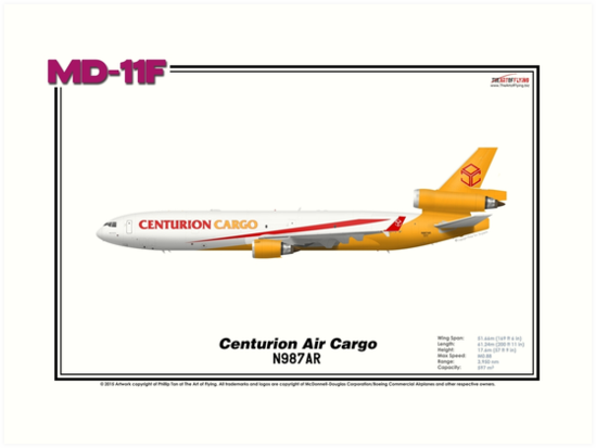McDonnell Douglas MD-11F - Centurion Air Cargo (Art Print) by TheArtofFlying