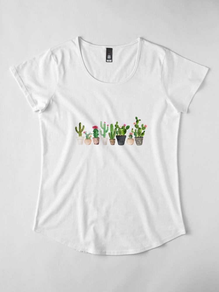 Vista alternativa de Camiseta premium de cuello ancho Cactus