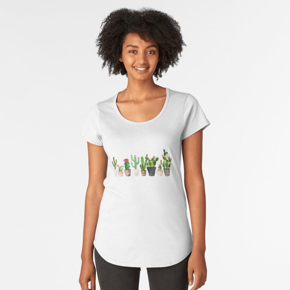 Cactus Camiseta premium de cuello ancho