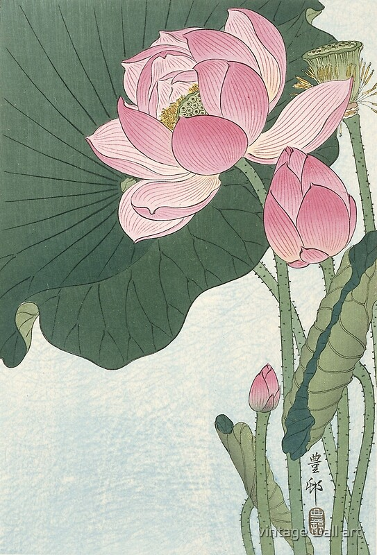 Lotus flower japanese block print posters by fineearth redbubble lotus flower japanese block print by fineearth mightylinksfo Choice Image