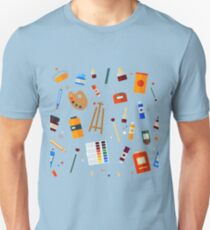 Tools and Materials for Creativity and Painting Seamless Pattern T-Shirt