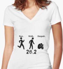 Run. Walk. Despair. 26.2 Women's Fitted V-Neck T-Shirt