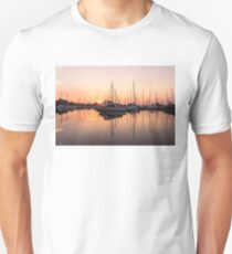 Peaceful Symmetry - Catching the Sunrise at the Yacht Club T-Shirt