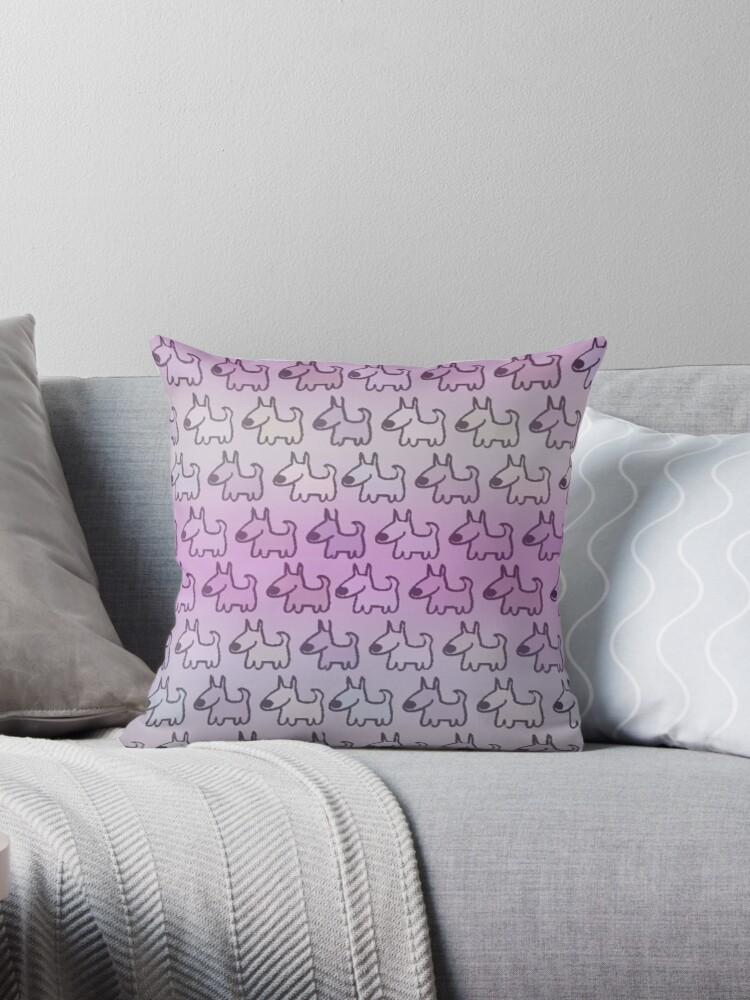 PINK -PURPLE - OMBRE GRADIENT FUN DOGS PATTERN KID FRIENDLY  by ozcushionstoo