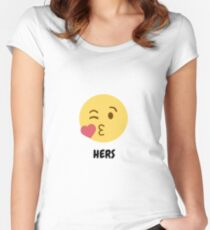 Hers - couple emoji Women's Fitted Scoop T-Shirt