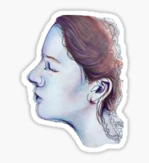 Pastel and Ink Drawing - Purple Face Sticker