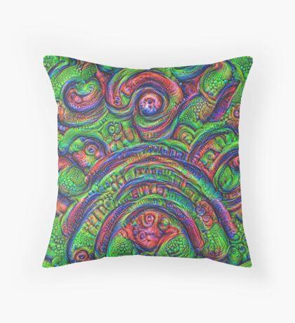 Green #DeepDream Throw Pillow