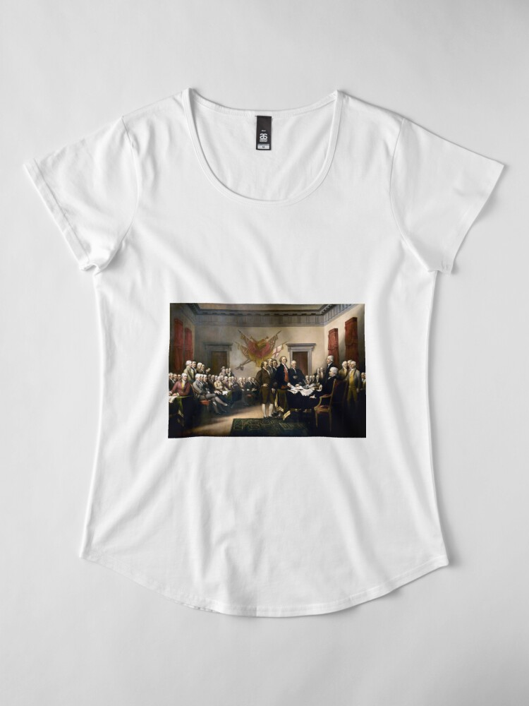 Alternate view of Signing The Declaration Of Independence Premium Scoop T-Shirt