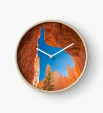 Blue Sky Between Rocks - Travel Photography, Orange, Sunlit Clock