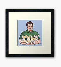 Ron Swanson Holding Corgi Puppies Framed Print
