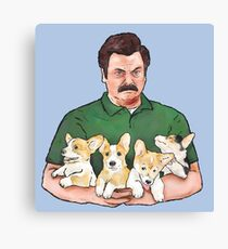 Ron Swanson Holding Corgi Puppies Canvas Print
