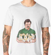 Ron Swanson Holding Corgi Puppies Men's Premium T-Shirt