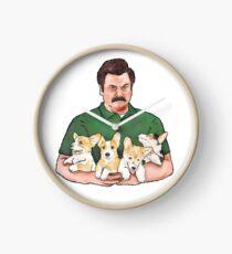 Ron Swanson Holding Corgi Puppies Clock
