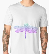 Dragonfly, beautiful winged insect, bright blue violet color outline Men's Premium T-Shirt
