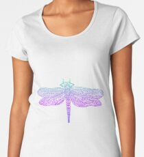 Dragonfly, beautiful winged insect, bright blue violet color outline Women's Premium T-Shirt