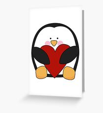 Valentine's Penguin holding heart Greeting Card