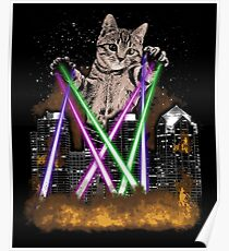 Laser Cat Destroys City With Paws Poster