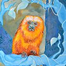 Golden Tamarin in the Blue Woods by Amanda  Shelton