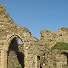 Hastings Castle Walls above the English Channel by Cleburnus
