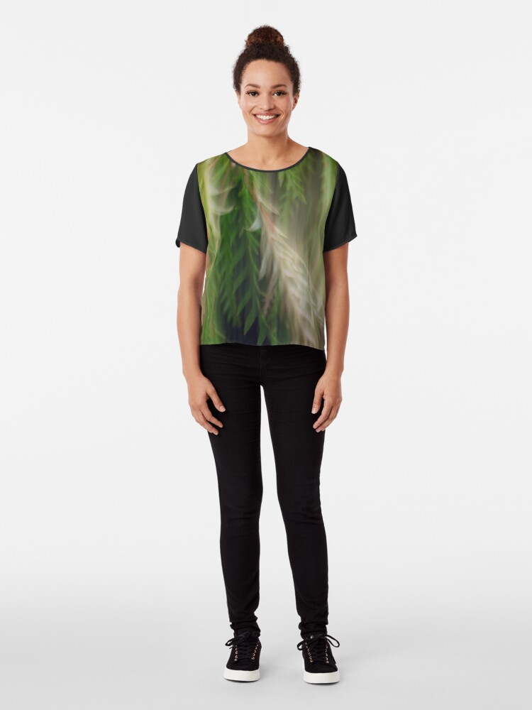 Alternate view of Fleur Blur Series-Abstract Decorative Leaves Chiffon Top