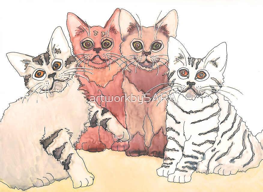 FOUR KITTENS by artworkbySARA