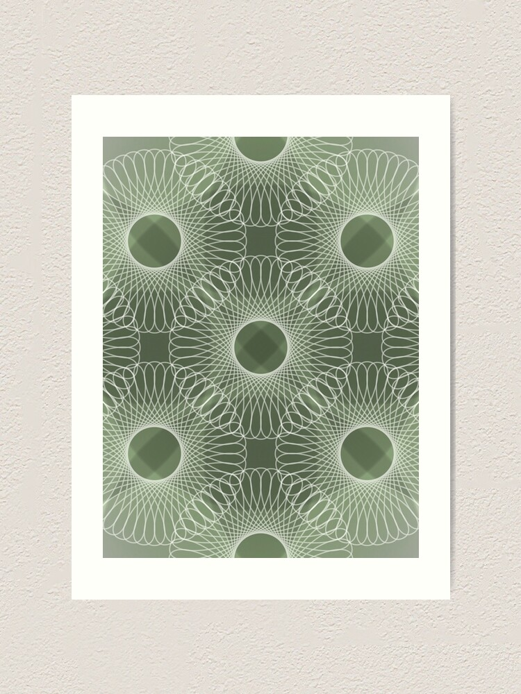Alternate view of Circled in Shades of Emerald Green Art Print