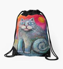 Scuffy cat larger  Drawstring Bag