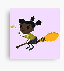 Retro Witch on a Broom (1) Canvas Print