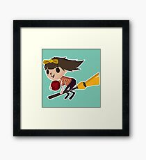 Retro Witch on a Broom (3) Framed Print