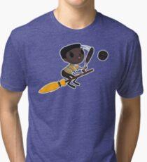 Retro Wizard on a Broom (1)  Tri-blend T-Shirt