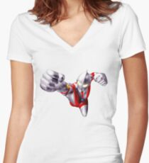 ultraman flying Women's Fitted V-Neck T-Shirt