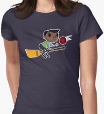 Retro Wizard on a Broom (2) Women's Fitted T-Shirt